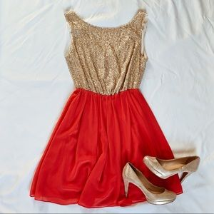 Coral and gold sequin dress, Love Notes brand